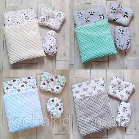 """Набор в коляску """"Минки"""" 3 предмета: подушка, плед, простынь  / комплект постельного белья в детскую коляску, фото 2"""