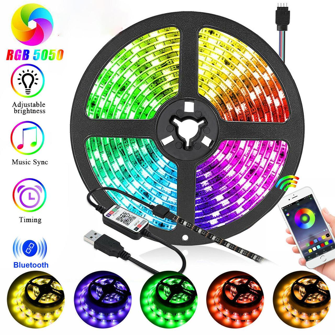 Світлодіодна стрічка 5v usb led 5050 bluetooth RGB 5 метрів різнобарвна (управління через телефон)