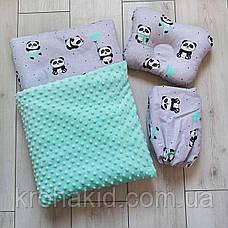 """Набір в коляску """"Минки"""" 3 предмета: подушка, покривало, простирадло / комплект постільної білизни в дитячу коляску, фото 3"""