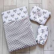 """Набор в коляску """"Минки"""" 3 предмета: подушка, плед, простынь  / комплект постельного белья в детскую коляску"""