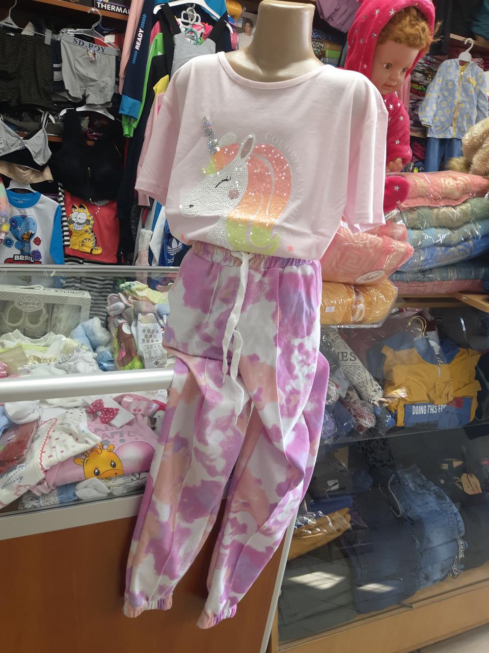 Костюм для девочки футболка брюки тай-дай р.152 158