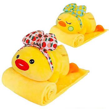Игрушка плед трансформер 3 в 1 Happy Toys микрофибра (29133) Цыпленок с бантиком