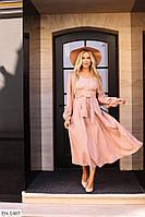 Однотонное приталенное длинное расклешенное платье в горошек под пояс Размер: 42-44, 46-48 арт. 815