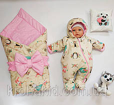 Демисезонный комплект на выписку для новорожденного: конверт с бантом и комбинезон, фото 2