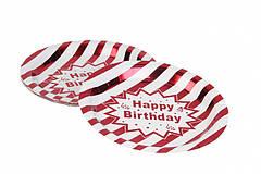 """Тарілки паперові """"Happy birthday"""" біло-червоні (small) 10 шт"""