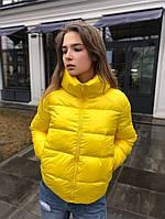 Куртка женская весенняя осенняя демисезонная Blow желтая до 0*С | Пуховик женский демисезонный ЛЮКС качества
