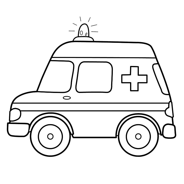 Картина по контуру Машина скорой помощи, 25*25 см, RB, картина-раскраска без номеров