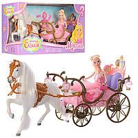 Карета з коником і лялькою в коробці + аксесуари 207 A