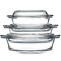 Набор стеклянных кастрюль STENSON 3 шт (0080) Круглых Уценка