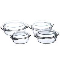 Набор стеклянных кастрюль A-PLUS 4 шт (1095) Круглых Уценка