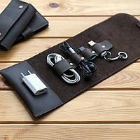 Кожаный органайзер для проводов, зарядного устройства, павербанка, флешки