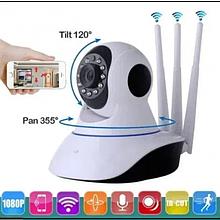 Беспроводная поворотная IP камера видеонаблюдения WiFi microSD ZN09 на 3 антенны