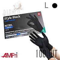Перчатки нитриловые медицинские без пудры (100шт) AMPri Style Black Черный. Размер: L