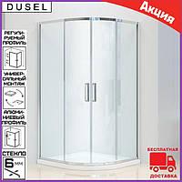 Душевая кабина полукруглая 90х90 см двери раздвижные Dusel А-511 стекло прозрачное