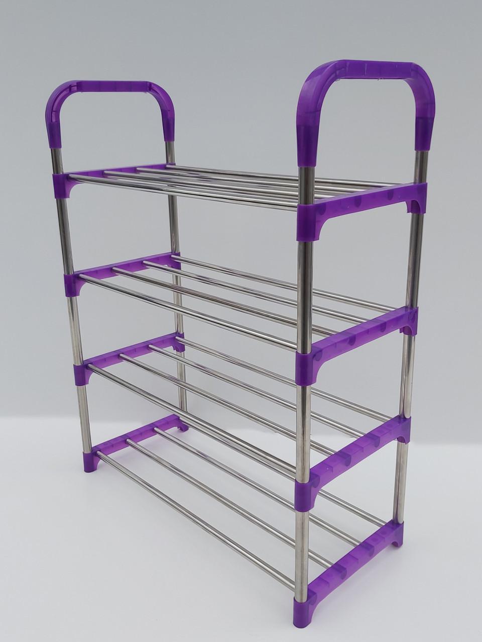 Д 52 * Ш 23,5 * У 65,5 см. Полка для взуття фіолетового кольору на 4 яруси.