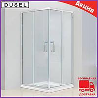 Душова кабіна квадратна 100х100 см двері розсувні Dusel А-513 скло прозоре