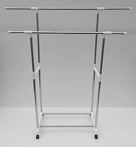 Двойная телескопическая стойка для одежды  на колесиках с полкой для обуви.