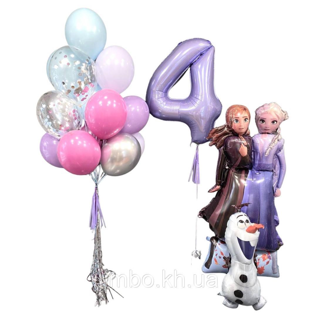 Повітряні кулі холодне серце, Ростова фігура Анни та Ельзи з Олафом і кулька цифра