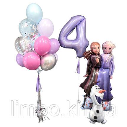 Повітряні кулі холодне серце, Ростова фігура Анни та Ельзи з Олафом і кулька цифра, фото 2