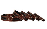 Ошейник кожаный с подкладом и заплётом коричневый 45мм