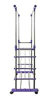 Усиленная стойка для одежды напольная, Стойка 4 полки на колесиках, Телескопическая стойка- вешалка