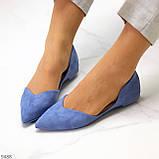 Витончені сині жіночі замшеві балетки човники 35-22,5 37-24 см, фото 2