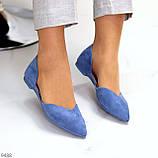 Изящные синие женские замшевые балетки лодочки 35-22,5 37-24 см, фото 4