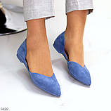 Витончені сині жіночі замшеві балетки човники 35-22,5 37-24 см, фото 4