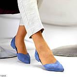 Изящные синие женские замшевые балетки лодочки 35-22,5 37-24 см, фото 5