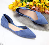 Изящные синие женские замшевые балетки лодочки 35-22,5 37-24 см, фото 6