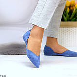 Изящные синие женские замшевые балетки лодочки 35-22,5 37-24 см, фото 9