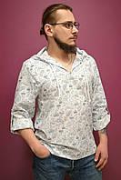 """Рубашка с капюшоном мужская в принт """"Корабли"""" (52 размер)"""