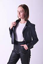 Куртка косуха черная  из эко кожи для девочек