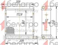 1216.8101060 Радіатор отопітеля МТЗ 3-х рядний, патрубки в різні сторони (мідно-латунний)
