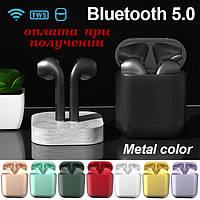 Беспроводные вакуумные Bluetooth наушники СТЕРЕО гарнитура TWS Apple AirPods inPods i12 eleven Metallic PRO 4, фото 1