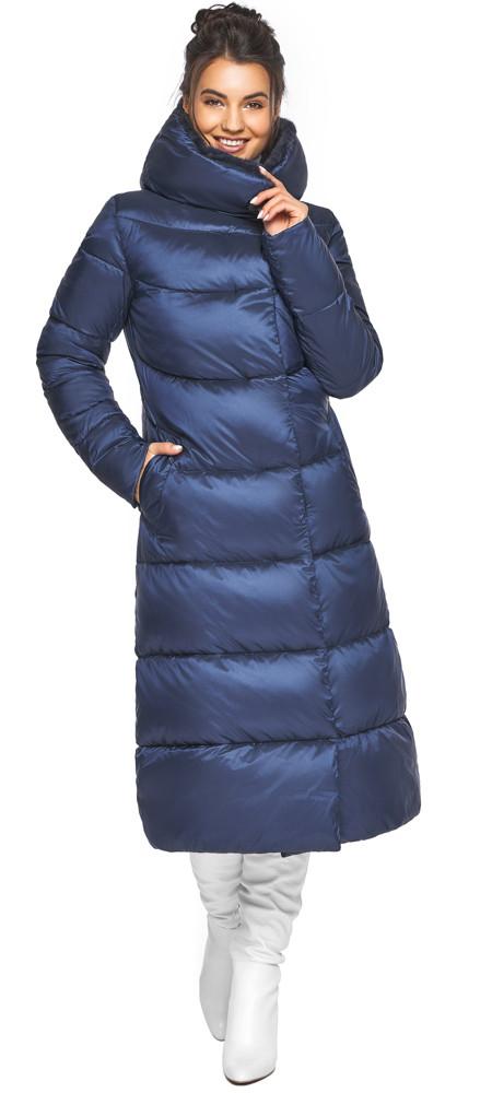 Теплая женская куртка цвет синий бархат модель 45085