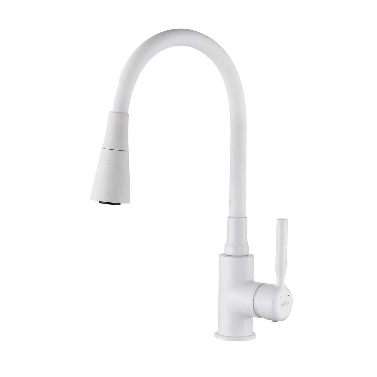 Змішувач для кухні з гнучким виливом, Invena Hula Plus, білий, BZ-85-P02