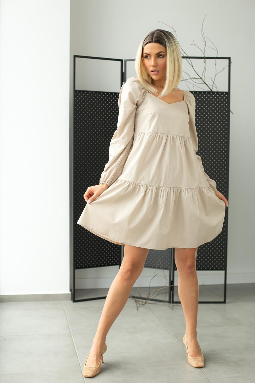 Коттоновое платье с завышенной линией талии LUREX - бежевый цвет, S (есть размеры)
