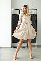 Коттоновое платье с завышенной линией талии LUREX - бежевый цвет, S (есть размеры), фото 1
