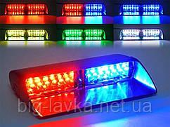 Полицейская мигалка стробоскоп Flash 16 диодов балка  Красный / Синий
