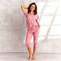 Хлопковая женская пижама футболка и капри Oksa, Розовый, S