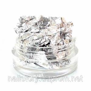 Серебряная поталь для ногтей