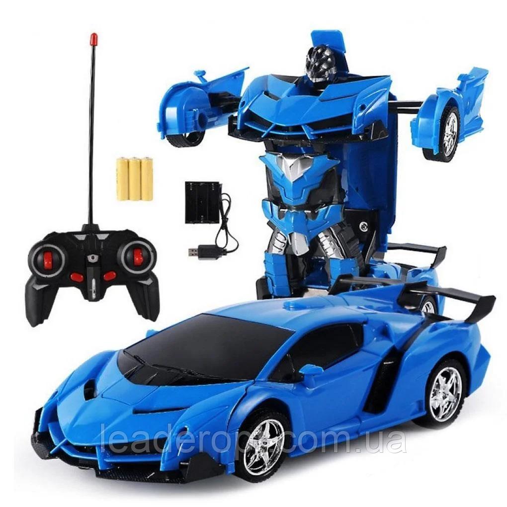 ОПТ Радиуправляемая машина трансформер Ламборджині UTM з пультом синя робот акумуляторна