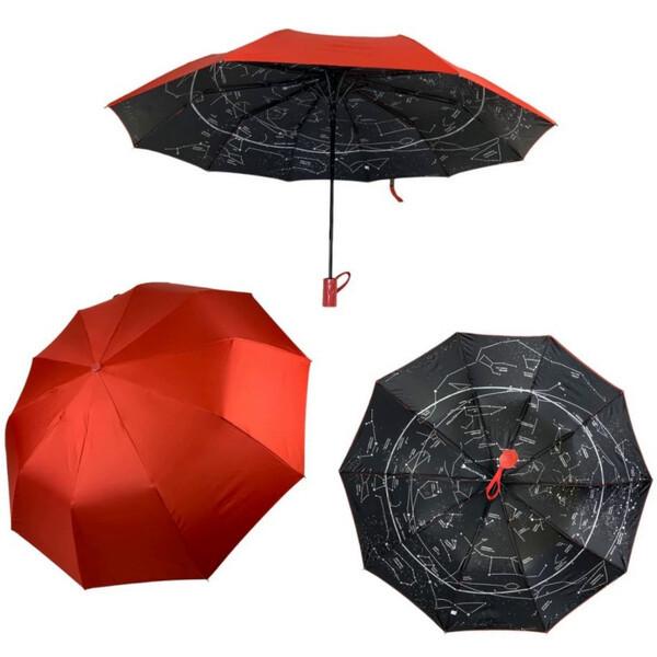 Женский зонтик Звездное небо полуавтомат складной 10 спиц антиветер Bellissimо Красный (19302-6)