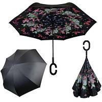 Зонт обратного сложения женский Feeling Rain Антизонт трость полуавтомат Черный двойной купол рисунок внутри