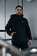 Анорак Nike мужской черный теплый ветровка Найк спортивная осенняя весенняя куртка