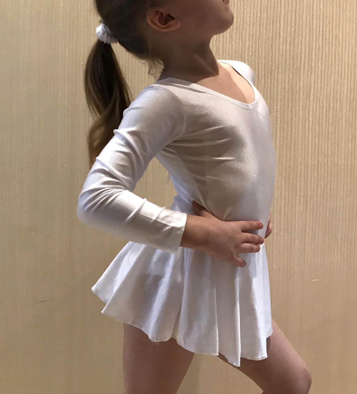 Боди купальник  с юбкой гимнастический для танцев , балета белый