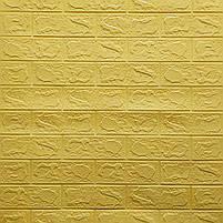 Самоклеюча декоративна 3D панель під жовто-пісочний цегла 700х770х3мм (самоклейка, М'які 3D Панелі), фото 2