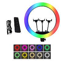 Кольцевая RGB LED лампа USB 45см для селфи с 3 держателями SOFT RING LIGHT / MJ45