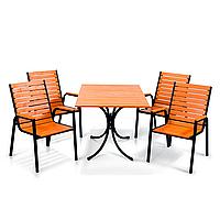 "Комплект мебели для летних кафе ""Таи"" стол (120*80) + 4 стула Тик, фото 1"